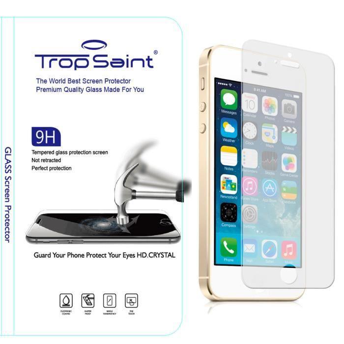 Trop saint verre tremp iphone 5 5s 5c film de protection avis et prix - Prix du verre trempe ...