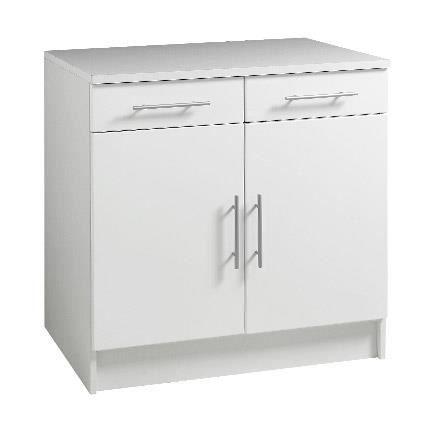 Trendy meuble bas 2 portes 2 tiroirs l80cm blanc achat for Petit meuble de cuisine avec tiroir