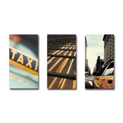 Tableau triptyque new york taxi 60 x 90 cm achat vente for Tableau triptyque new york
