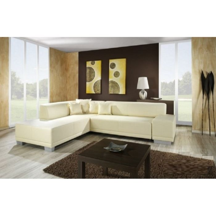 canap d 39 angle moderne william ivoire angle achat vente canap sofa divan bois. Black Bedroom Furniture Sets. Home Design Ideas