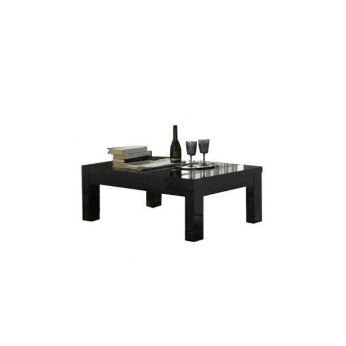 Table basse carre roma laqu noir achat vente table basse table basse car - Table basse noir laque ...