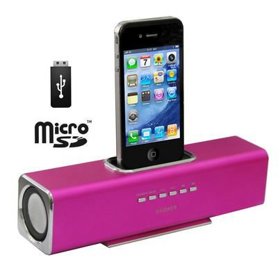 enceinte iphone ipod portable usb sd rose station d 39 accueil prix pas cher cdiscount. Black Bedroom Furniture Sets. Home Design Ideas