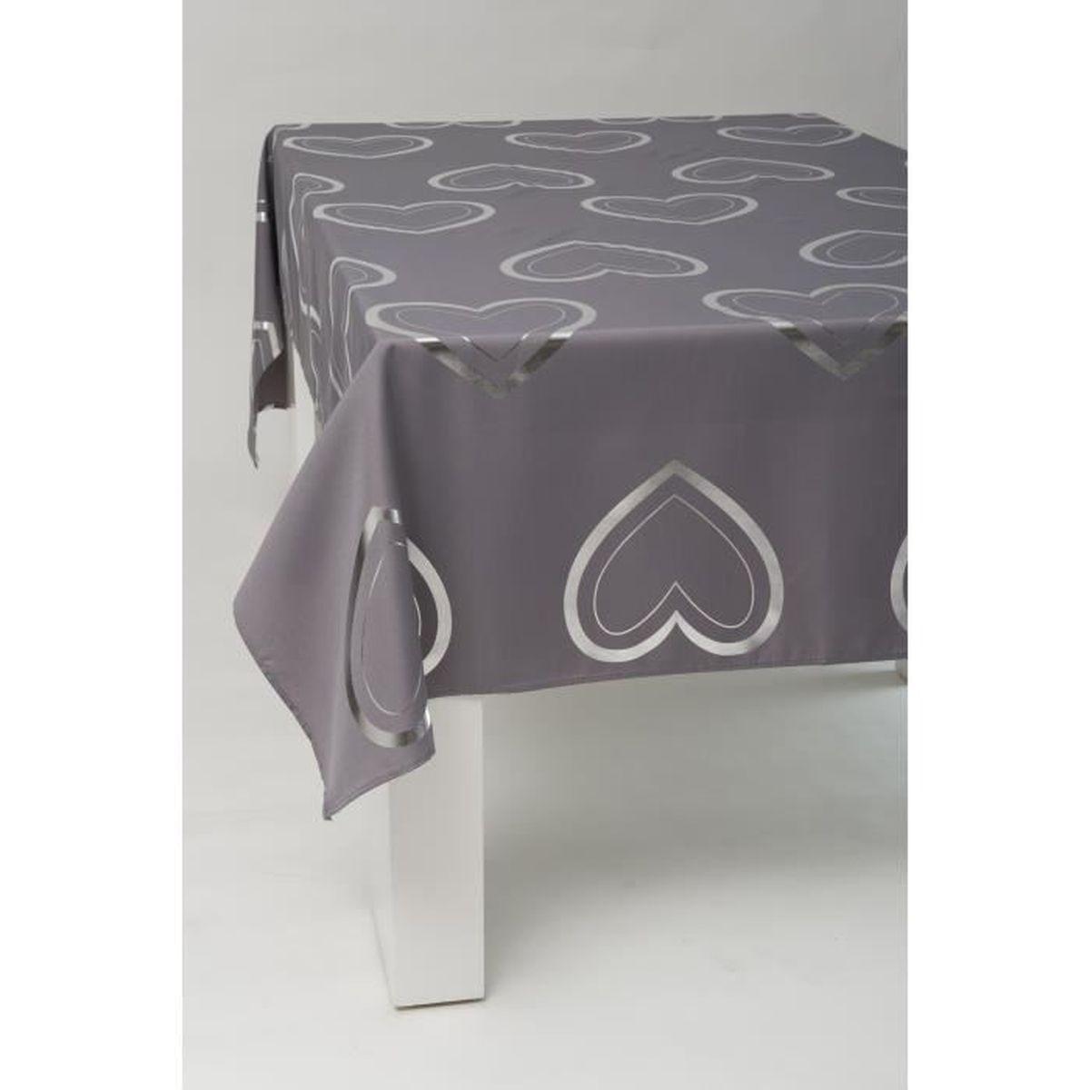 nappe rectangle 240x150 cm anti taches coeur argent gris achat vente nappe de table. Black Bedroom Furniture Sets. Home Design Ideas