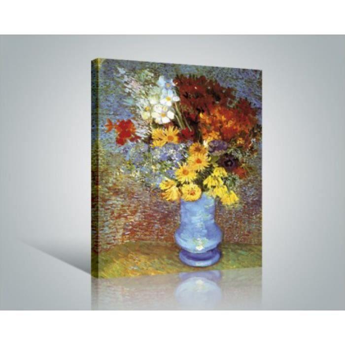 vincent van gogh poster reproduction sur toile tendue sur ch ssis vase avec marguerites et. Black Bedroom Furniture Sets. Home Design Ideas