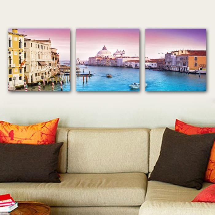 Tableau moderne imprim sur toile multi panneaux 3 pi ce peinture venise ital - Tableau moderne discount ...