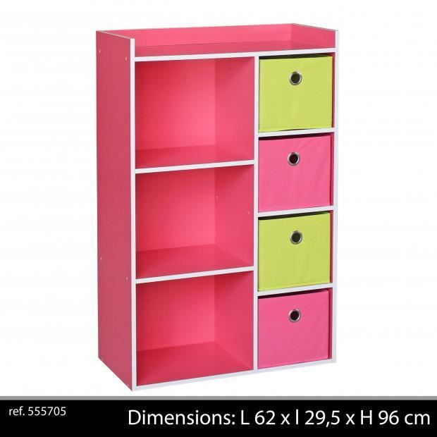 Meuble de rangement enfants 3 niches 4 tiroirs armoire - Meuble de rangement enfants ...