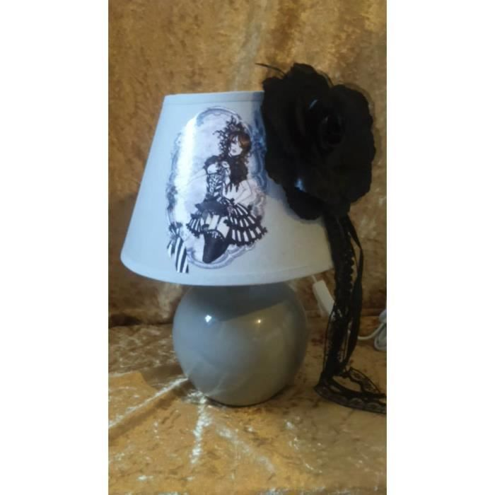 Lampe de chevet steampunk burlesque grise achat vente lampe de chevet ste - Lampe de chevet grise ...