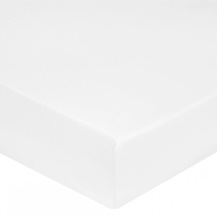 Drap housse satin de coton blanc 180x200 30 blanc - Drap housse satin 180x200 ...