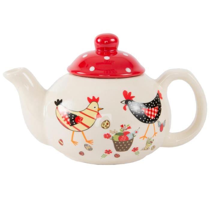 theiere en ceramique petites poules achat vente cafeti re th i re soldes d t cdiscount. Black Bedroom Furniture Sets. Home Design Ideas