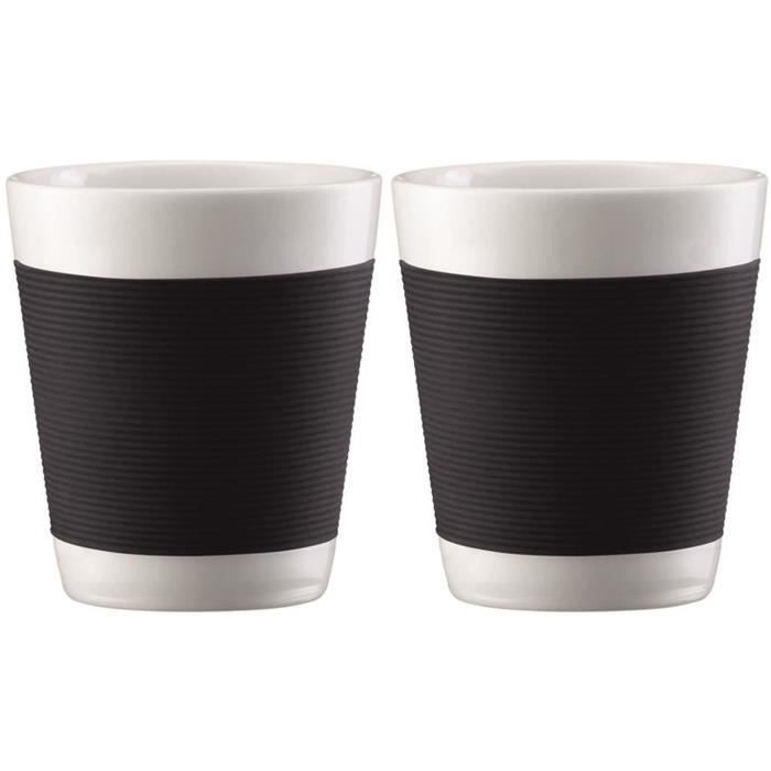 bodum canteen set 2 tasses porcelaine double paroi 0 1l noir achat vente bol mug. Black Bedroom Furniture Sets. Home Design Ideas