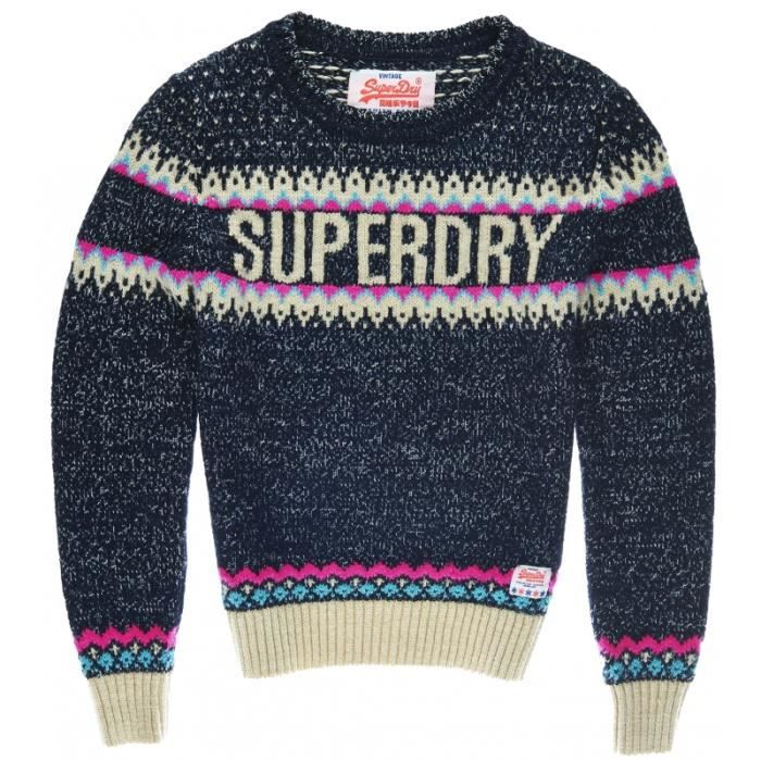 pull superdry morzine knit navy achat vente pull cdiscount. Black Bedroom Furniture Sets. Home Design Ideas