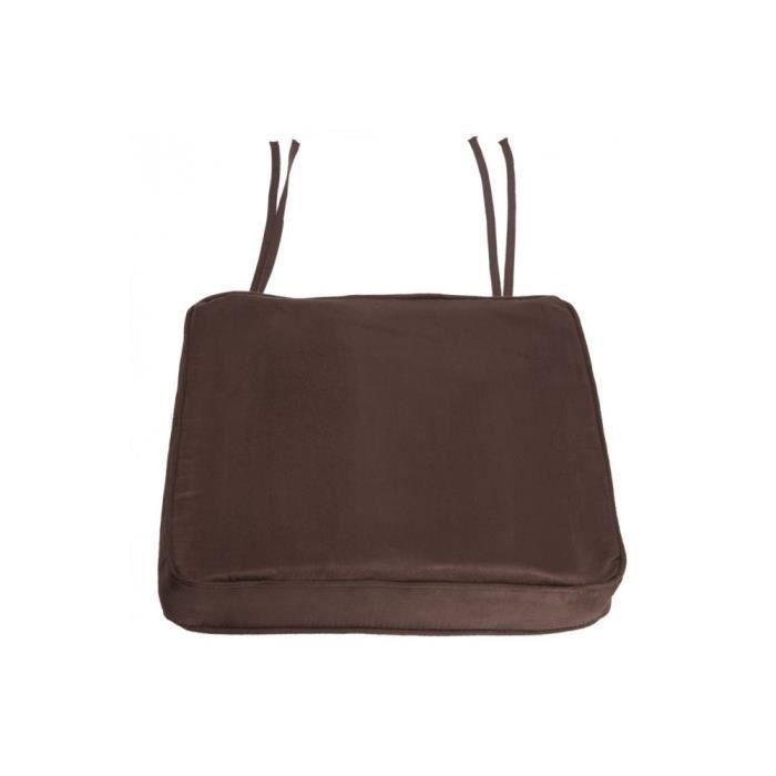 Coussin galette de chaise suedine uni ep 5 cm c achat - Galette de chaise avec rabat ...