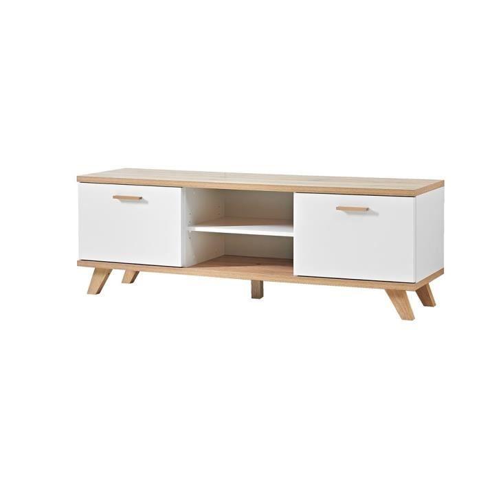 meuble tv oslo ch ne blanc achat vente meuble tv meuble tv oslo ch ne blanc les soldes. Black Bedroom Furniture Sets. Home Design Ideas