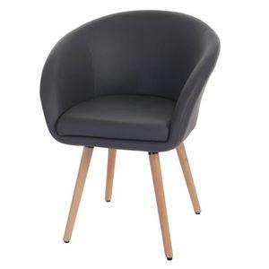Chaise simili cuir gris achat vente chaise simili cuir for Chaise en simili cuir