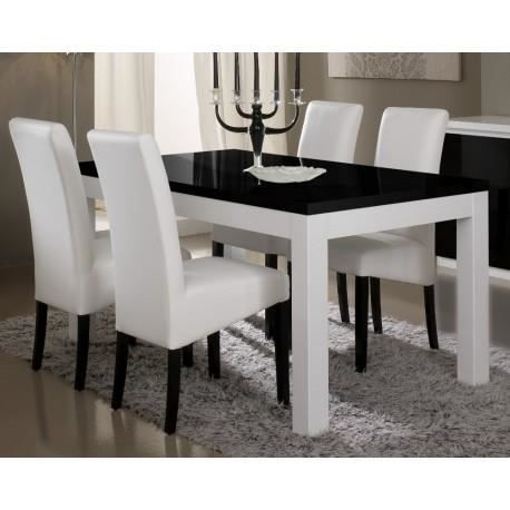 Table salle manger model pisa blanc noir l190cm sans chaises achat ven - Table salle a manger noir et blanc ...