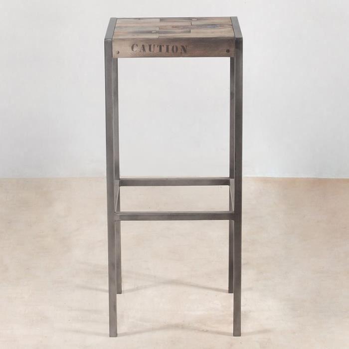 tabouret haut en bois industry achat vente tabouret de bar bois fer m tal cdiscount. Black Bedroom Furniture Sets. Home Design Ideas