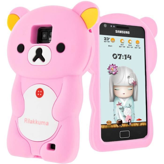 Coque ours silicone samsung galaxy s2 rose achat for Housse samsung galaxy s2