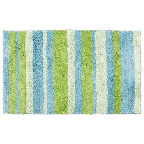 interdesign 18991eu stripz tapis microfibre polyester bleu vert 70 x 120 cm achat vente. Black Bedroom Furniture Sets. Home Design Ideas