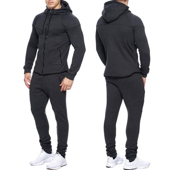 ensemble jogging fashion homme surv tement 667 gris fonc gris gris achat vente surv tement. Black Bedroom Furniture Sets. Home Design Ideas