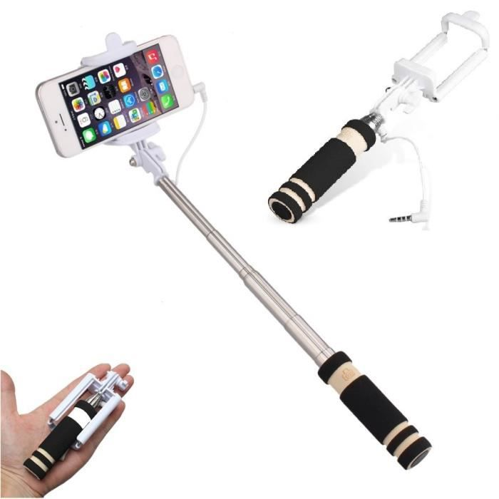 mini selfie stick pour sony xperia x compact perche android ios r glable bouton photo cable jack. Black Bedroom Furniture Sets. Home Design Ideas