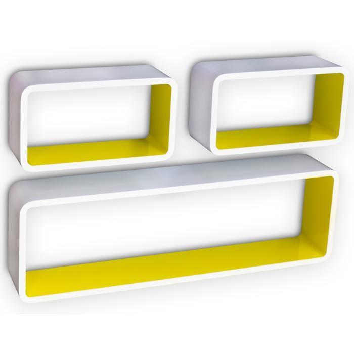 Etag re cube murale de 3 pi ces coloris blanc et jaune achat vente etag - Etagere murale cdiscount ...