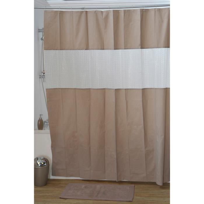 rideau de douche taupe et blanc marron achat vente. Black Bedroom Furniture Sets. Home Design Ideas