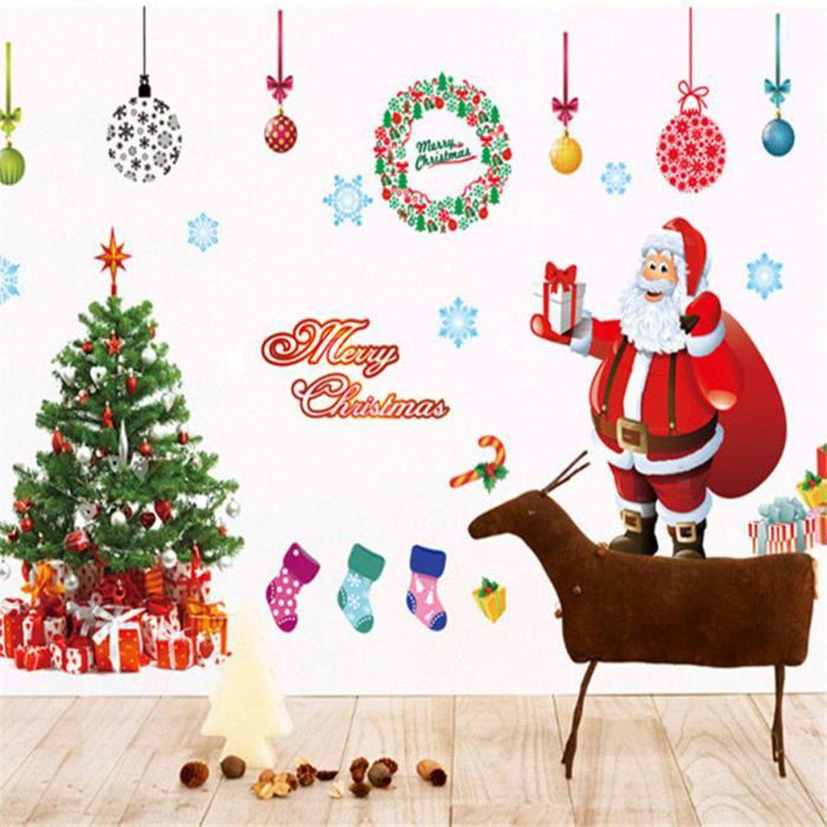 Autocollant mural art arbre de no l p re hiver cadeau for Autocollant mural arbre