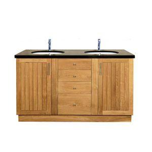 Meuble salle de bain en teck et granit 150 cm achat for Meubles salle de bain teck
