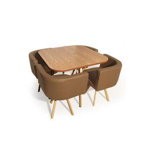 Table repas chaises encastrable style scandinave verre corner plusieurs couleurs disponibles for Quelle chaise pour table en verre