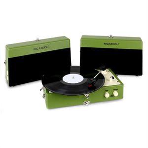 PLATINE VINYLE Ricatech RT80 Tourne-disque Vintage vert AUX