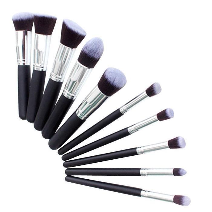 kit de pinceau maquillage professionnel 10pcs noir eyebrow shadow blush fond de teint anti cerne. Black Bedroom Furniture Sets. Home Design Ideas