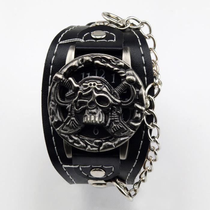 Montre couvercle t te de mort pirate skull style - Tete de mort style ...