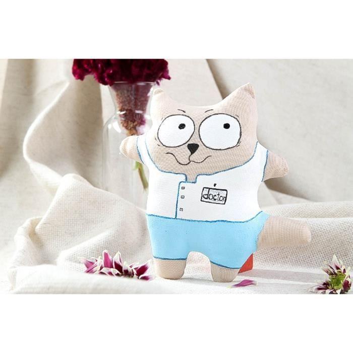 Jouet enfant Peluche en tissu chat décoration en coton lavande ...