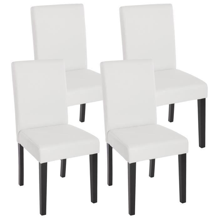 Lot de 4 chaises de salle manger simili cuir blanc m t - Tampon de chaise ...