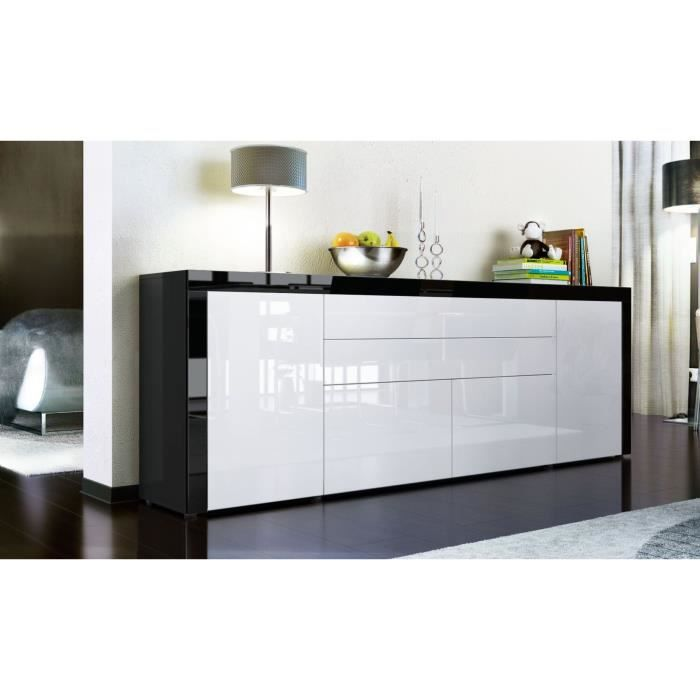 buffet enfilade noir et blanc 200 cm achat vente buffet bahut buffet enfilade cdiscount. Black Bedroom Furniture Sets. Home Design Ideas
