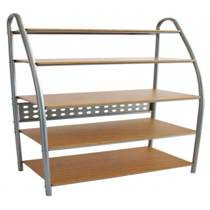 etageres biblioth que en bois avec 5 tag res achat. Black Bedroom Furniture Sets. Home Design Ideas