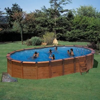 Piscine semi enterree bois 8 20 x 5 15 x 1 50 achat vente piscine piscine semi enterree bois for Piscine semi enterree bois