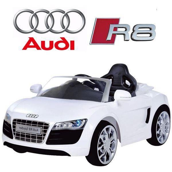 voiture 12v audi r8 spydster blanc pour enfant achat vente voiture enfant cdiscount. Black Bedroom Furniture Sets. Home Design Ideas