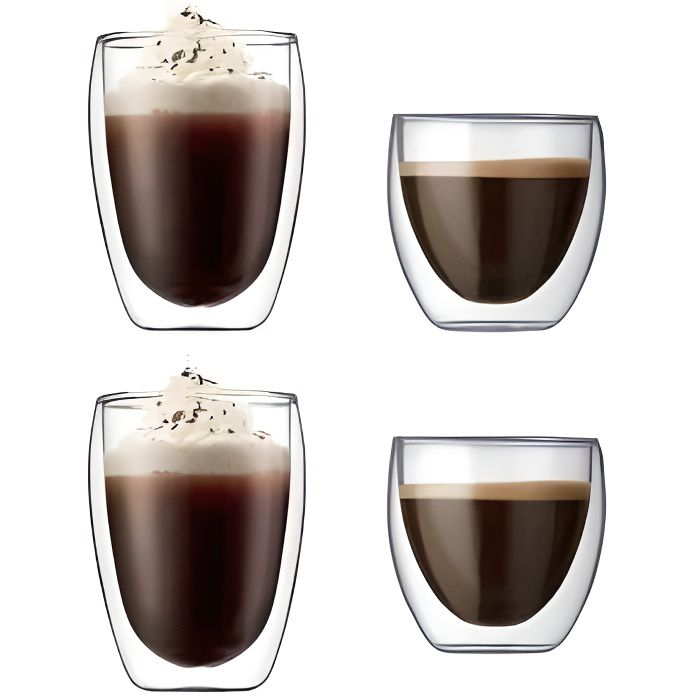bodum coffret de 4 verres double paroi bodum achat vente bol mug mazagran cdiscount. Black Bedroom Furniture Sets. Home Design Ideas