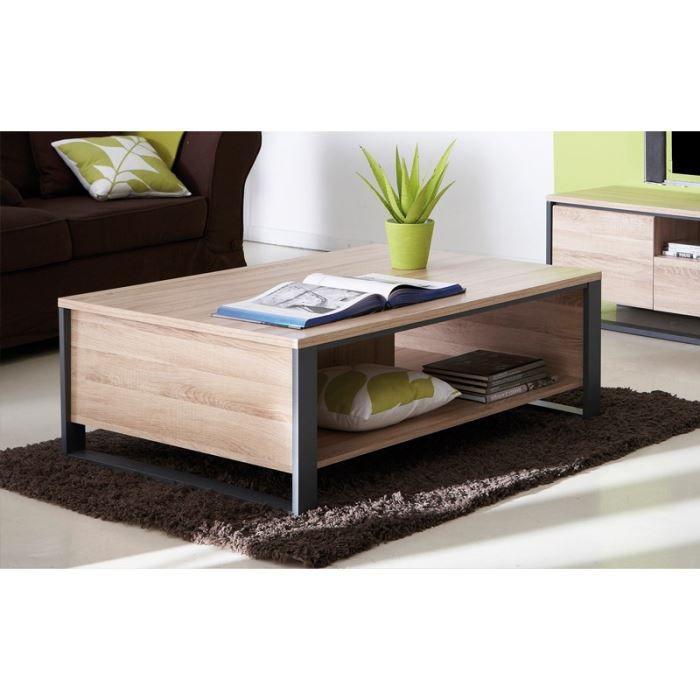 quaker table basse 110x60cm coloris ch ne et gris achat. Black Bedroom Furniture Sets. Home Design Ideas