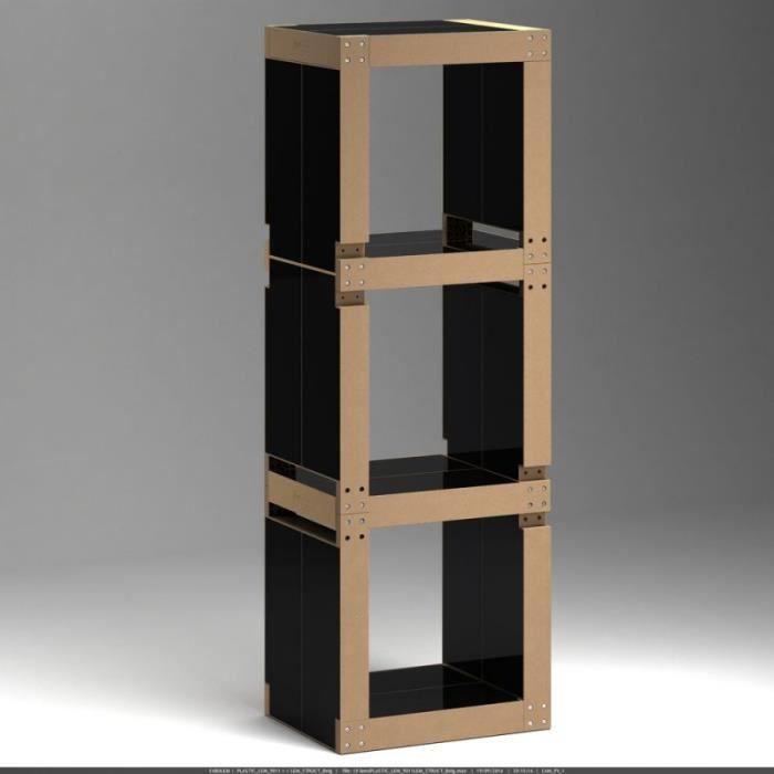 biblioth que modulable 10 lems noire achat vente. Black Bedroom Furniture Sets. Home Design Ideas