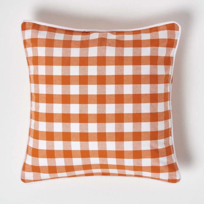 coussin d houssable carreaux orange 45 x 45 cm achat. Black Bedroom Furniture Sets. Home Design Ideas