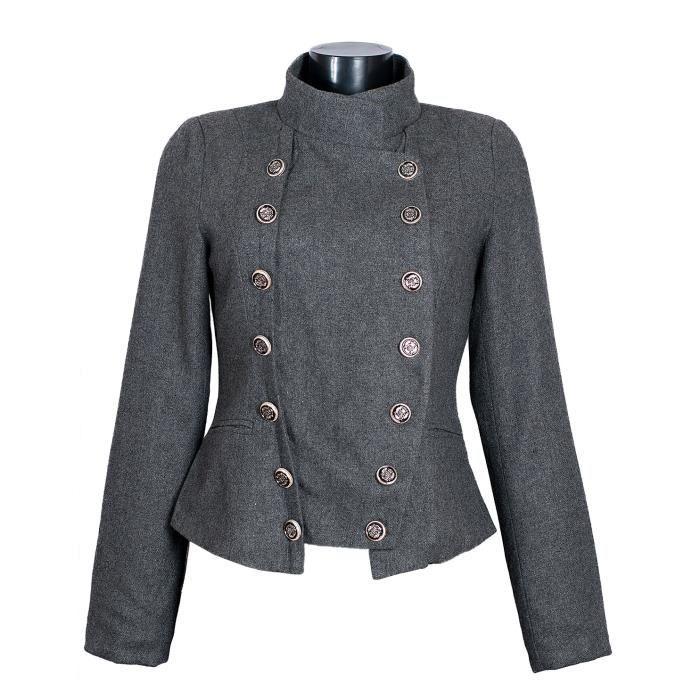 veste officier femme ve2033 laine gris gris achat vente veste veste officier femme ve2033. Black Bedroom Furniture Sets. Home Design Ideas