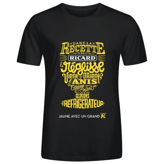 athletic t shirt homme ricard jaune avec un grand r noir noir noir achat vente t shirt. Black Bedroom Furniture Sets. Home Design Ideas