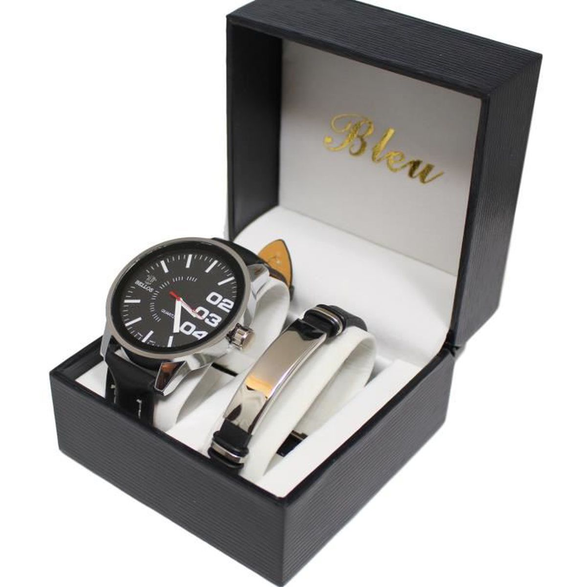 coffret montre homme gros cadran gourmette acier inoxydable stainless steal achat vente pack. Black Bedroom Furniture Sets. Home Design Ideas