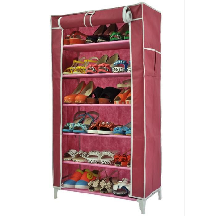 meuble penderie garde robe etagere pour chaussures vetements 58 x 28 x 107 cm rose achat. Black Bedroom Furniture Sets. Home Design Ideas