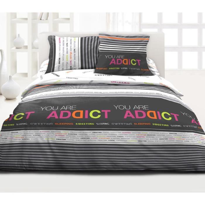 housse de couette 3 pi ces addicted pour lit 2 personnes achat vente housse de couette. Black Bedroom Furniture Sets. Home Design Ideas