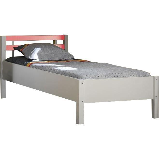 lit enfant 90x200 coloris blanc avec t te de lit rouge achat vente lit complet lit enfant. Black Bedroom Furniture Sets. Home Design Ideas