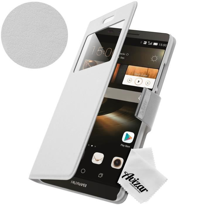 Housse etui fen tre huawei ascend mate 7 blanc achat for Housse huawei mate 10 pro