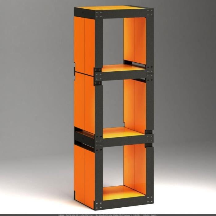 Biblioth que modulable noir 10 lems orange achat vente biblioth que bibli - Cube bibliotheque modulable ...